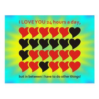 I LOVE YOU 24 hours a day | yellow cyan shine Postcard
