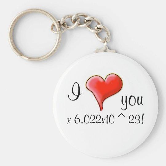 I love you 6.022x10^23! basic round button key ring