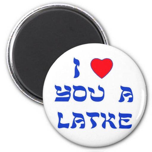 I Love You a Latke Refrigerator Magnets