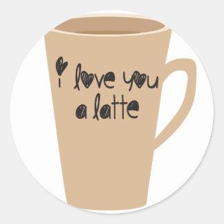 I love you a latte classic round sticker