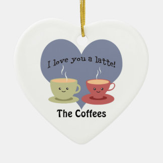 I love you a latte Funny Coffee Pun Christmas Ornament