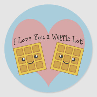 I Love You a Waffle Lot! Classic Round Sticker