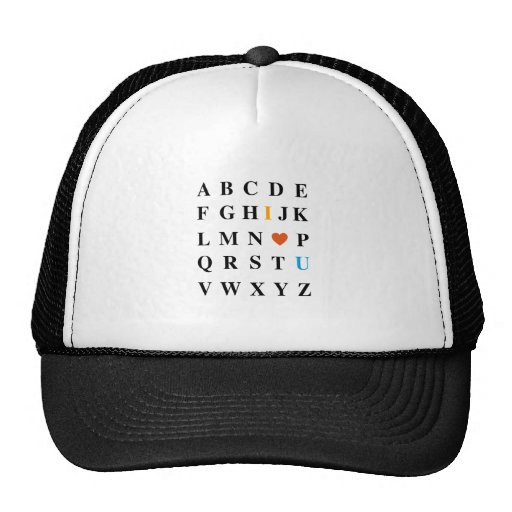 I love you, abc with red heart trucker hat