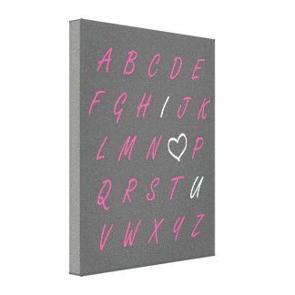 I Love You ABC's Gray Pink & White Canvas Wall Art