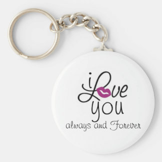 i LOVE you always and Forever Basic Round Button Key Ring