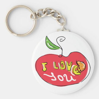 I love you apple with worm keychain