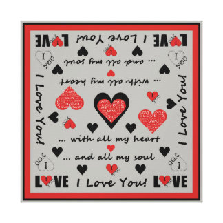 I Love You Artsy Hearts Gallery Wrapped Canvas