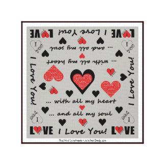 I Love You Artsy Hearts Canvas Prints