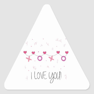 I love you Banner Triangle Sticker