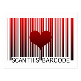 I LOVE YOU BARCODE POST CARDS