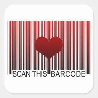 I LOVE YOU BARCODE SQUARE STICKER