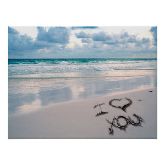 I Love You, Beach Sunset Poster