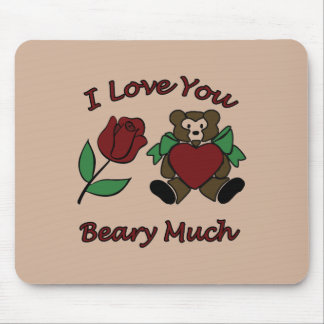 I Love You Beary Much Teddy With Heart Rose Mouse Pad