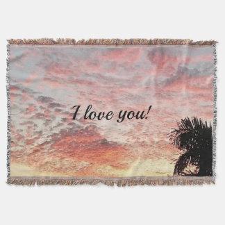 I love you Beautiful Pink Sunset Photo Print Throw Blanket