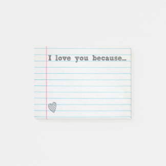 """""""I love you because..."""" fill in the blank note"""