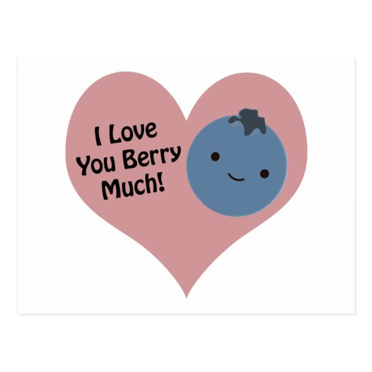 I love you berry much blueberry postcard