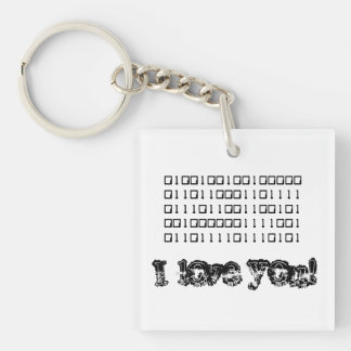 I Love You Binary Key Ring