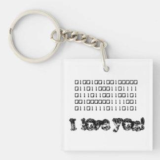 I Love You Binary Single-Sided Square Acrylic Key Ring