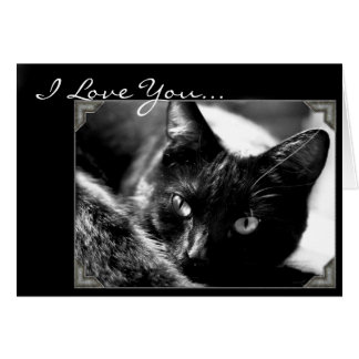 I Love You Black cat greeting card