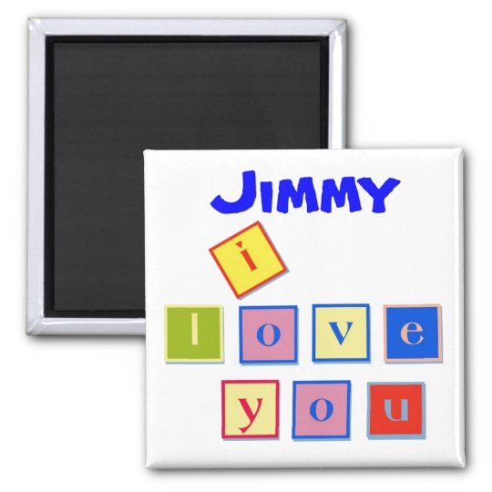 I Love You Block Letters Magnet