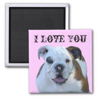 I Love you Bulldog puppy magnet