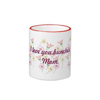 I love you bunches, Mom, flower bouquet mug