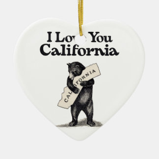 I Love You California Bear Hug Ceramic Heart Decoration