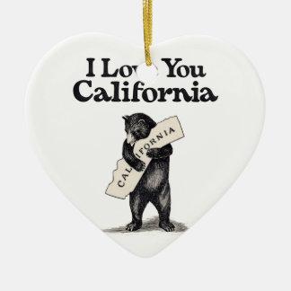 I Love You California Bear Hug Christmas Ornament
