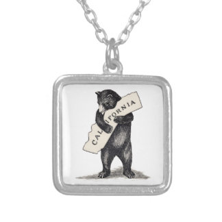 I Love You California Bear Hug Silver Plated Necklace