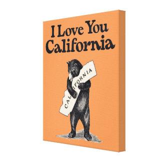 I Love You California Bear Hug Stretched Canvas Prints