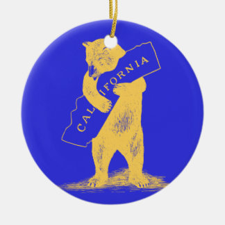 I Love You California--Blue and Gold Christmas Ornament