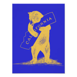 I Love You California--Blue and Gold Print