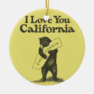 I Love You California Christmas Ornament