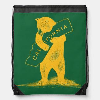 I Love You California--Green and Gold Drawstring Bag