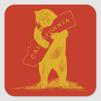 I Love You California--Red and Gold Square Sticker