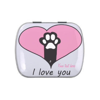 """""""I love you"""" Cat paw Jelly Belly Tins"""