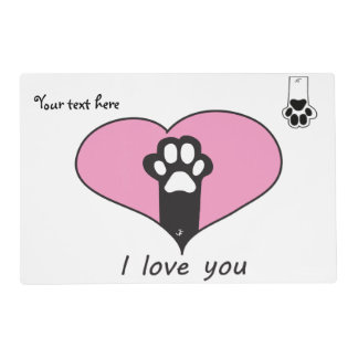 """""""I love you"""" Cat paw Laminated Place Mat"""