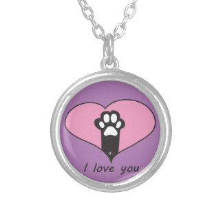 """""""I love you"""" Cat paw Round Pendant Necklace"""