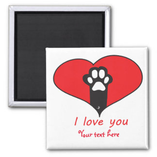 """I love you"" Cat paw Square Magnet"
