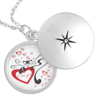 I Love You Cat Round Locket Necklace