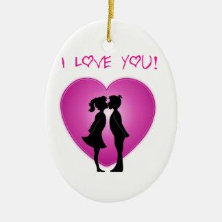 I Love You Ceramic Oval Decoration