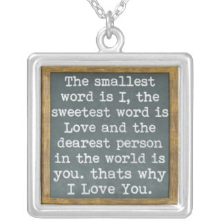 i love you chalkboard sentiment necklaces