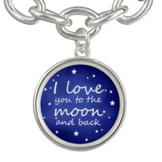 I love you charm bracelet moon and back