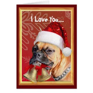 I Love You Christmas Boxer dog Greeting Card
