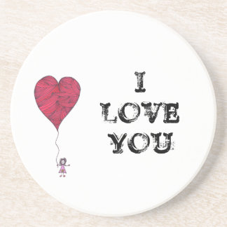 I love you coaster with heart balloon