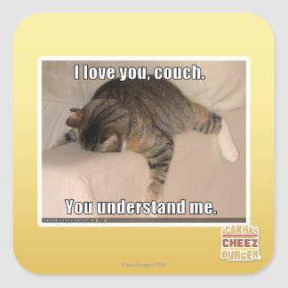 I love you, couch. square sticker