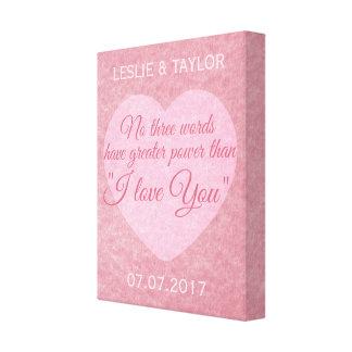 """""""I LOVE YOU"""" custom names & date canvas print"""