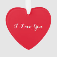I Love You Custom Valentines Day Heart Ornament