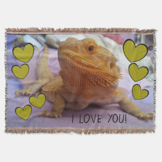 I LOVE YOU Cute Bearded Dragon and Hearts Throw Blanket