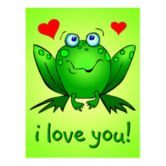 I Love You Cute Green Cartoon Frog Hearts Postcard